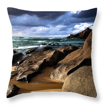 Between Rocks And Water Throw Pillow by Edgar Laureano