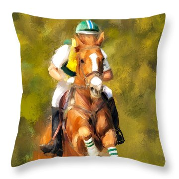 Throw Pillow featuring the photograph Between The Flags by Joan Davis