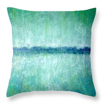 Between The Sea And Sky - Green Seascape Throw Pillow