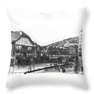Bever Creek Skating Rink Throw Pillow