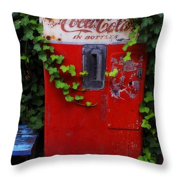 Austin Texas - Coca Cola Vending Machine - Luther Fine Art Throw Pillow by Luther Fine Art