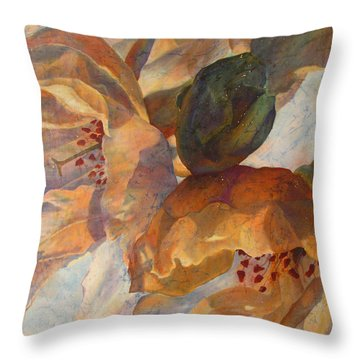 Bev's Blossoms Throw Pillow by Deborah Younglao