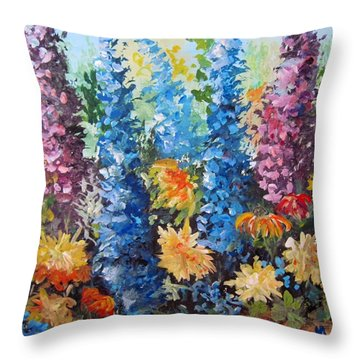 Throw Pillow featuring the painting Bev's Garden by Megan Walsh