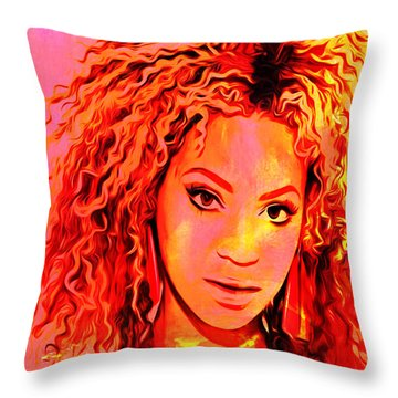 Throw Pillow featuring the painting Beyonce by Brian Reaves