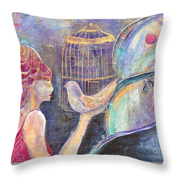 Beyond Gilded Cages Throw Pillow by Gail Butters Cohen
