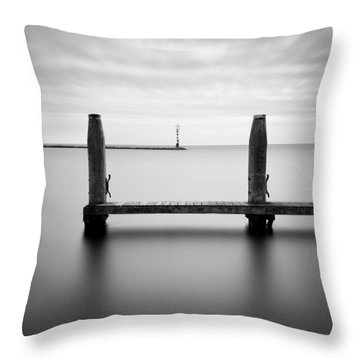 Beyond The Jetty Throw Pillow by Dave Bowman
