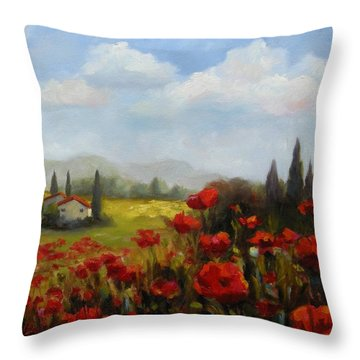 Beyond The Poppies Throw Pillow by Chris Brandley