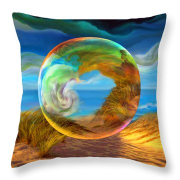 Throw Pillow featuring the painting Beyond The Sea  by Robin Moline
