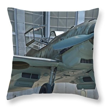 Throw Pillow featuring the photograph bf109 E by Jeff Cook
