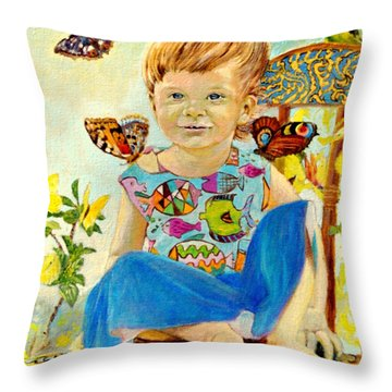 Bianka And Butterflies Throw Pillow by Henryk Gorecki