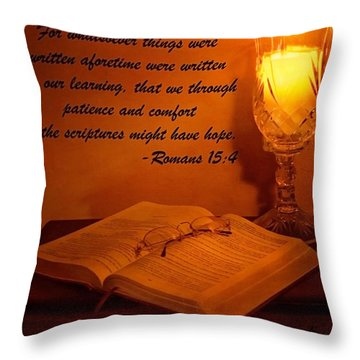 Bible By Candlelight Throw Pillow