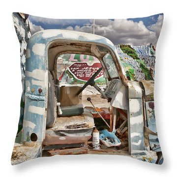 Bible Truck Throw Pillow by Hugh Smith