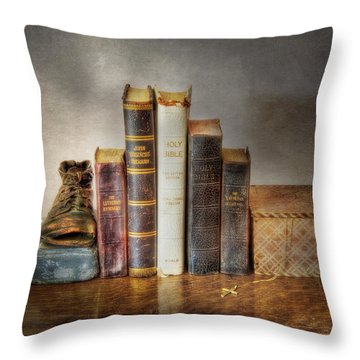 Bibles And Hymnbooks Throw Pillow by David and Carol Kelly