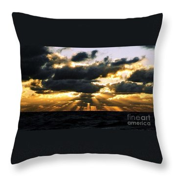Crepuscular Biblical Rays At Dusk In The Gulf Of Mexico Throw Pillow by Michael Hoard
