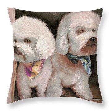 Throw Pillow featuring the painting Bichon Frise by Melinda Saminski
