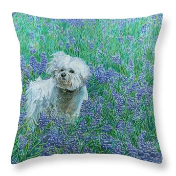 Bichon In The Bluebonnets Throw Pillow