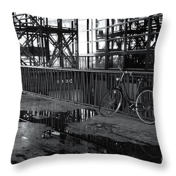 Throw Pillow featuring the photograph Bicycle Alone by Maja Sokolowska