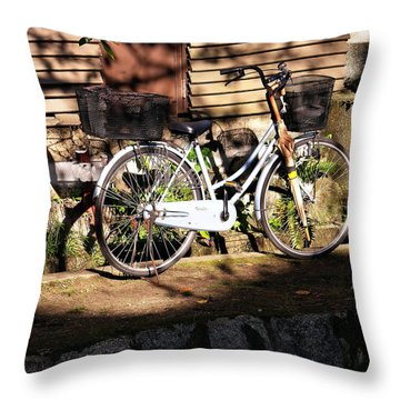 Throw Pillow featuring the photograph Bicycle And Baskets Kyoto - Philosophers' Walk by Jacqueline M Lewis