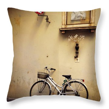 Bicycle And Madonna Throw Pillow