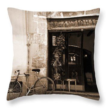 Bicycle And Reflections At L'antiquari Bar  Throw Pillow by RicardMN Photography