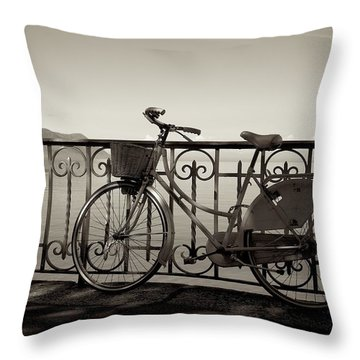 Bicycle Basket Fence Throw Pillow by Colleen Williams