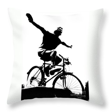 Bicycle - Black And White Pixels Throw Pillow