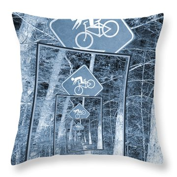 Bicycle Caution Traffic Sign Throw Pillow
