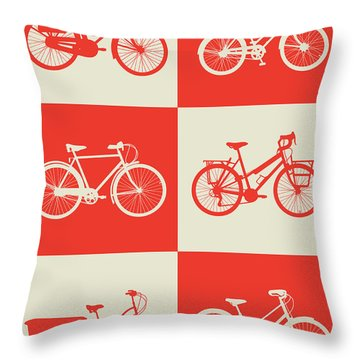 Bicycle Collection Poster 1 Throw Pillow by Naxart Studio