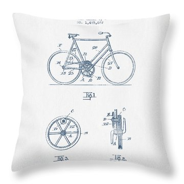 Bicycle Gear Patent Drawing From 1924 - Blue Ink Throw Pillow
