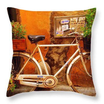 Bicycle In Rome Throw Pillow by Caroline Stella