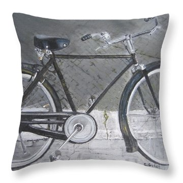 Bicycle In Rome Throw Pillow by Claudia Goodell