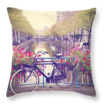 Bicycle On A Bridge Throw Pillow by Hans Engbers
