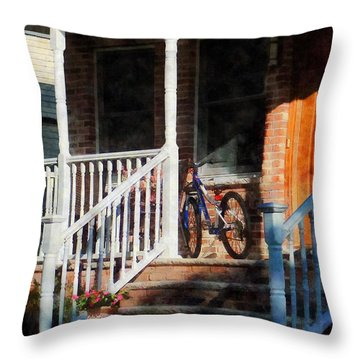 Bicycle On Porch Throw Pillow by Susan Savad