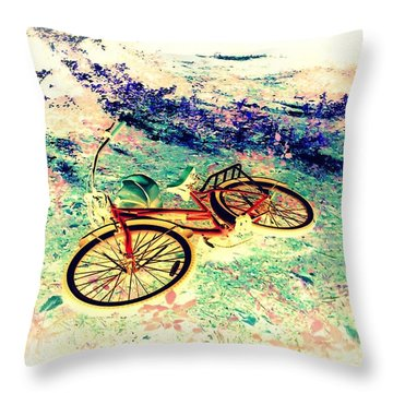 Bicycle On The Other Side Throw Pillow