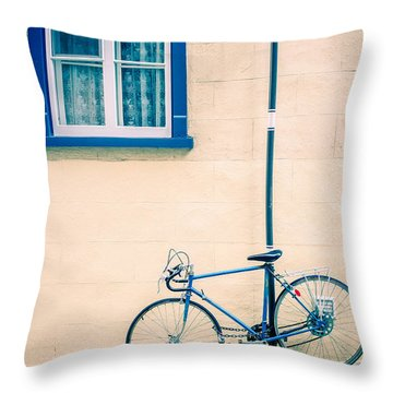 Bicycle On The Streets Of Old Quebec City Throw Pillow by Edward Fielding