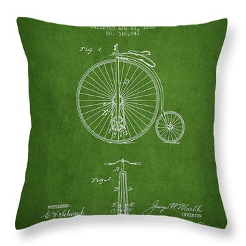 Bicycle Patent Drawing From 1885 - Green Throw Pillow by Aged Pixel