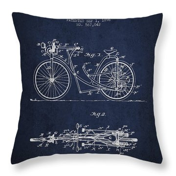 Bicycle Patent Drawing From 1896 - Navy Blue Throw Pillow by Aged Pixel