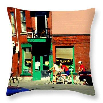 Bicycle Path At Wilenskys Diner Rue Fairmount And Clark Montreal Cafe Street Scene Carole Spandau Throw Pillow by Carole Spandau