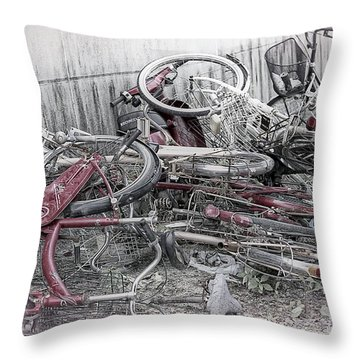 Bicycles And Scooter Still Life Insitu - Japan Throw Pillow