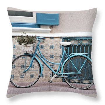 Vintage Bicycle Photography - Bicycles Are Not Only For Summer Throw Pillow