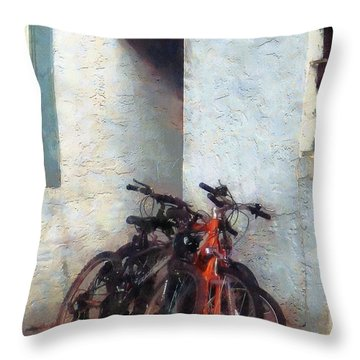 Bicycles In Yard Throw Pillow by Susan Savad