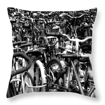 Throw Pillow featuring the photograph Sea Of Bicycles- Karlsruhe Germany by Joey Agbayani