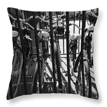 Throw Pillow featuring the photograph Bicycles by Maja Sokolowska