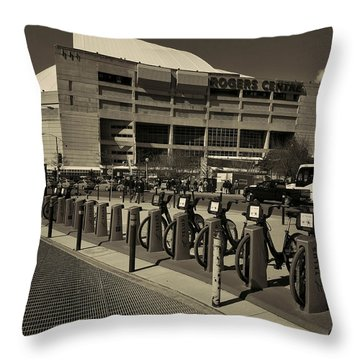 Bicycles On Bremner Throw Pillow by Nicky Jameson