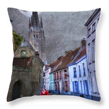 Bicycling Through Bruges Throw Pillow by Juli Scalzi