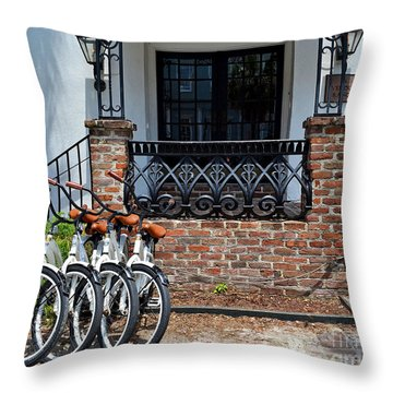 Bicycles In Charleston Throw Pillow