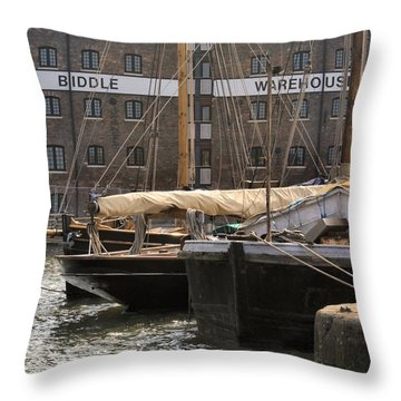 Throw Pillow featuring the digital art Biddle Warehouse by Ron Harpham