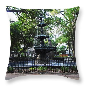 Bienville Fountain Mobile Alabama Throw Pillow