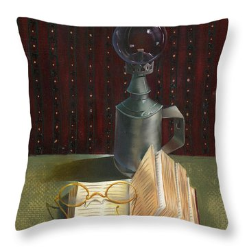 Throw Pillow featuring the painting Bifocal Read by Doreta Y Boyd