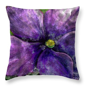 Big African Violet - Purple Flower - Steel Engraving Throw Pillow by Barbara Griffin